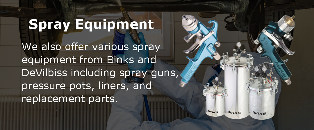 We offer a variety of spray equipment from Binks and DeVilbiss.
